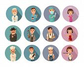 Set Icon People Different Professions. Doctor, Cook Man, Chef, Waitress, Mafia Don, Gangster, Prosti poster