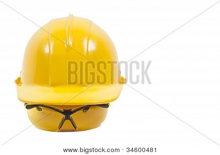 Safety Glasses And Hard Hat