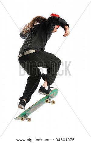 Skateboarder jumping isolated over white background