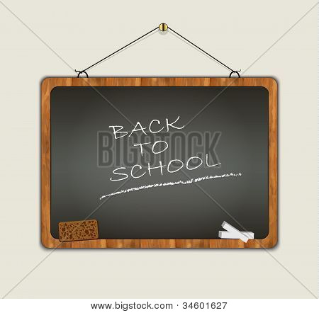 blackboard back to school wood frame black