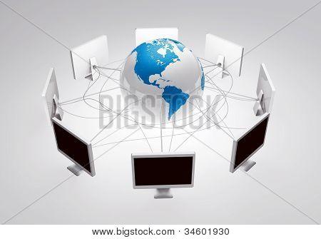equipos de conexión e interacción alrededor del mundo, a través de conexión inalámbrica a internet