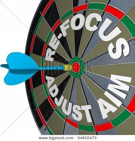Ein Pfeil trifft eine Dartscheibe mit den Worten neue und passen Sie das Ziel, illustrieren die Notwendigkeit, ändern Ihre