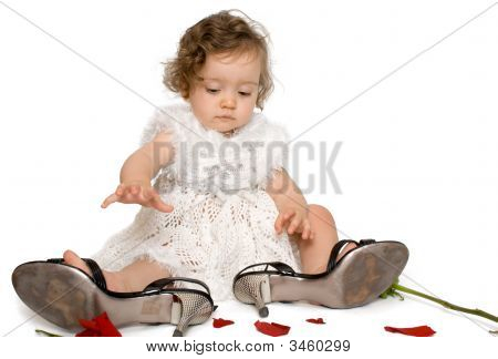 Baby Girl In Mom'S Shoes, Isolated