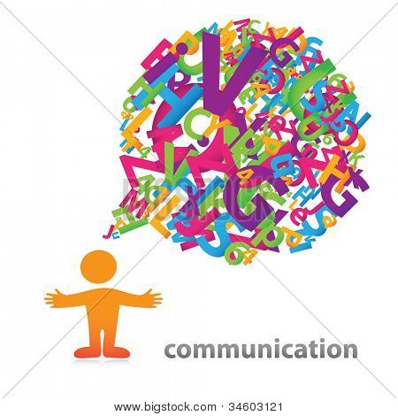 Person with a speech bubble of colored letters. The symbol of communication.