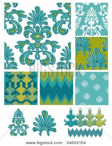Damask theme vector seamless patterns and icons.  Use to create fab digital paper for card projects through to textile designs.
