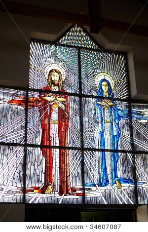 Stained Glass With Jesus And Mary