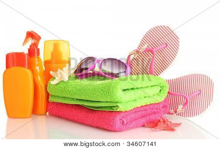 bright beach accessories, isolated on white