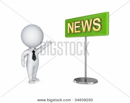 .3d small person showing on a bunner NEWS.