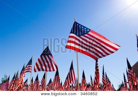 American Flag Display For Holiday