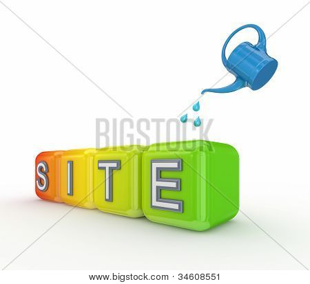 Blue bailer and colorful cubes with a word SITE.