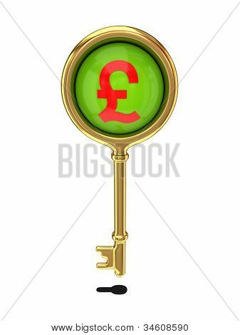 Golden key with a pound sterling sign.