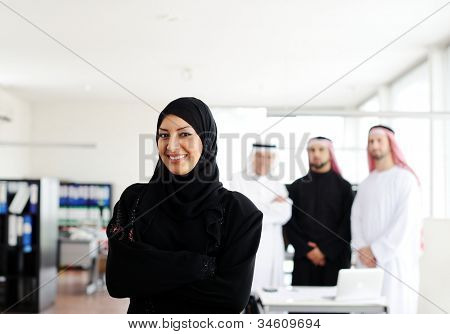Successful and happy business arabic people