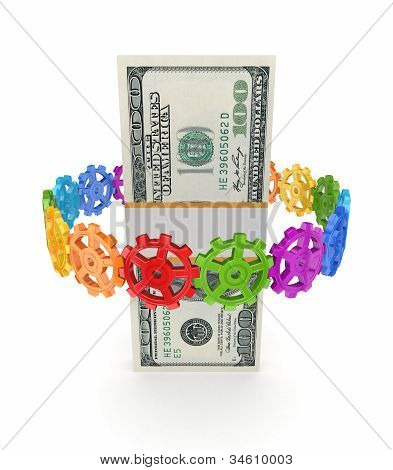 Colorful gears around dollar pack.