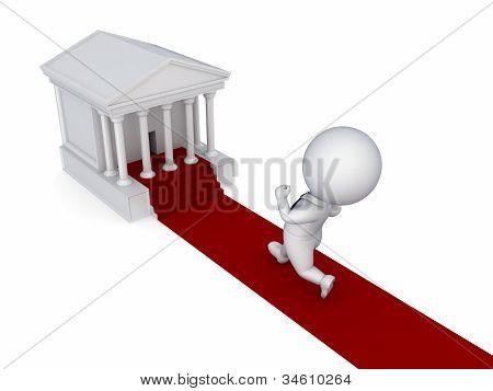 3D pequena pessoa correndo para um tribunal.