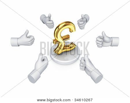 Hands with thumbs up around pound sterling sign.