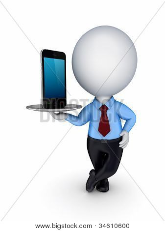 3d small person with a modern mobile phone.