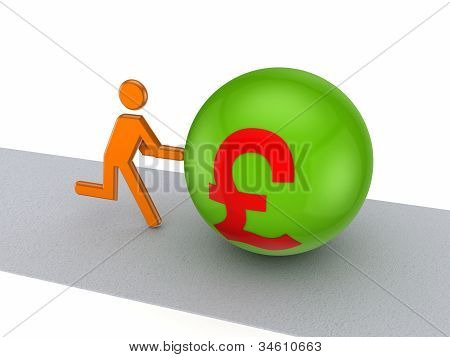 3d person pushing pound sterling symbol on a road.