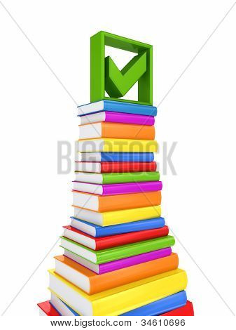 Green tick mark on a big stack of colorful books.