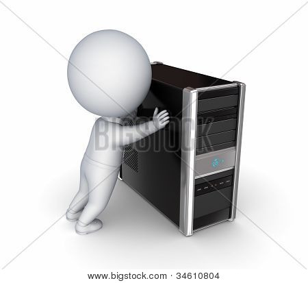 3d small person pushing black PC.