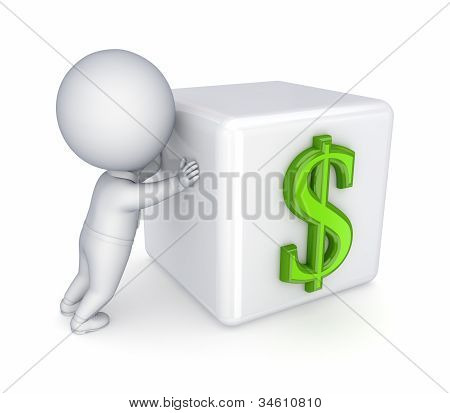 3d small person pushing dollar sign.