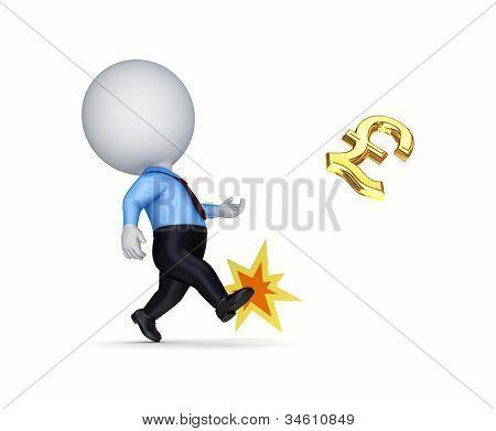 3d small person kicking a golden dollar sign.
