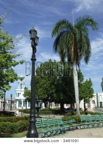 Green Seats In Cienfuegos Central Park