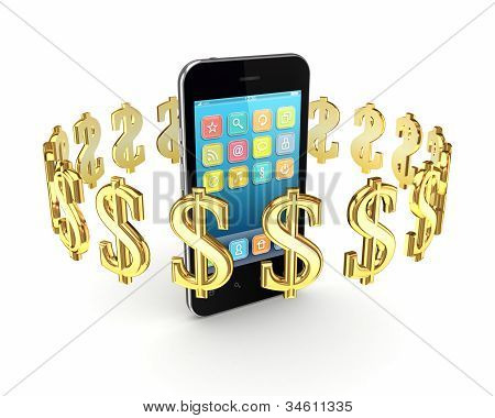 Dollar signs around modern mobile phone.