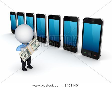 3d small person buying mobile telephone.