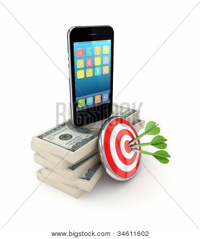 Darts, dollar packs and modern mobile phone.