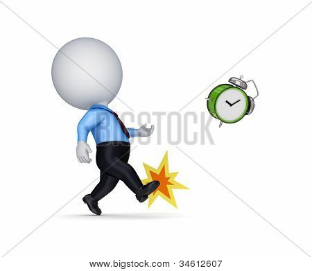 3d small person kicking a vintage watch.