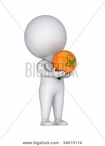 3d small person with a tick mark in a hands.