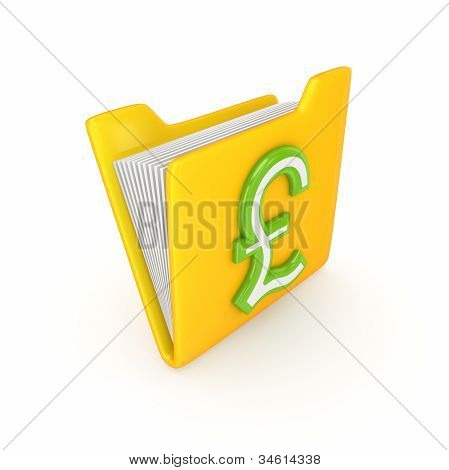 Pound sterling sign on a yellow folder.