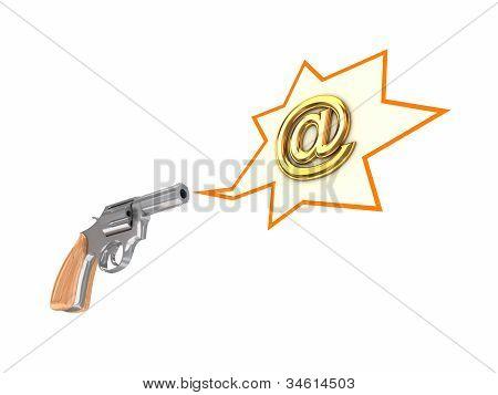 Revolver and AT symbol.