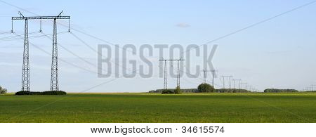 Panorama, Transmission Line On A Background Of Blue Sky