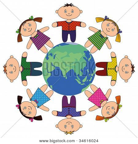Children standing around Earth