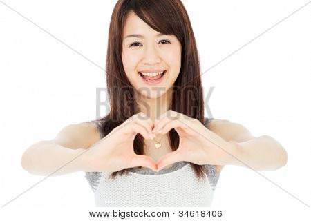 Beautiful young woman showing heart sign. Portrait of asian.