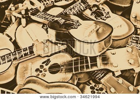 Miniature guitars done in sepia light