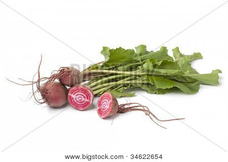 Fresh raw Chioggia  beets on white background