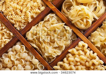 Assorted Pasta In Wooden Compartments