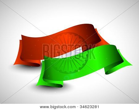 Two ribbons in orange and green color with asoka wheel on grey, Independence Day, Republic Day and other occasions. EPS 10.