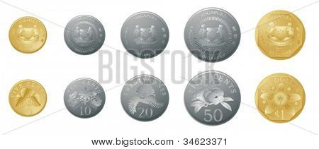 illustration of gold and silver coins on a white background