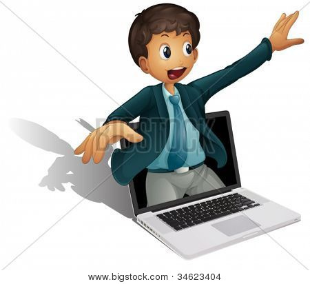 illustration of a man coming out of computer