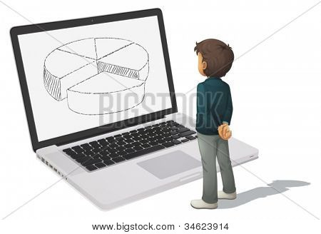 illustration of man looking at pie chart on computer