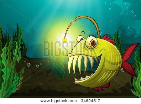 ilustração de peixe monstro na água