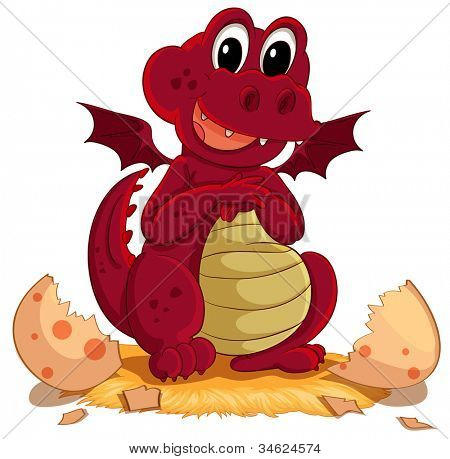 Illustration of a dragon hatching