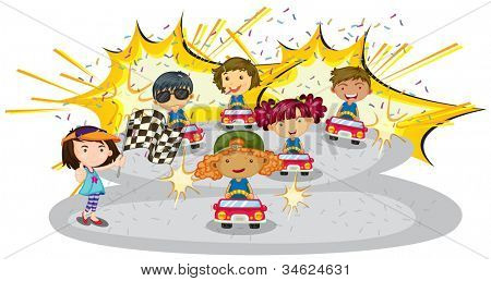 illustration of kids driving car on a white background