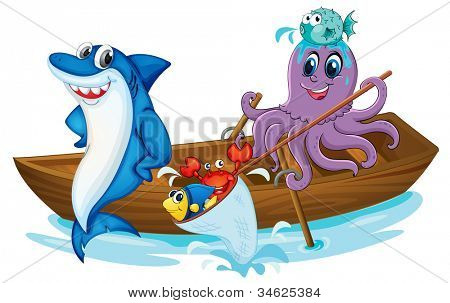 illustration of a fish and boat in a water