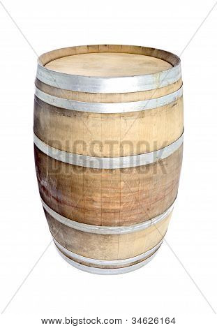 Used Oak Wine Barrel Isolated on White