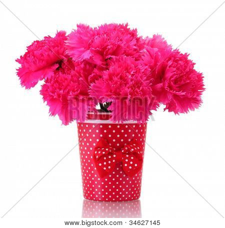 Bouquet of carnations in a vase isolated on white