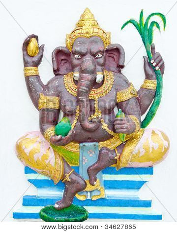 God Of Success 2 Of 32 Posture. Indian Or Hindu God Ganesha Avatar Image In Stucco